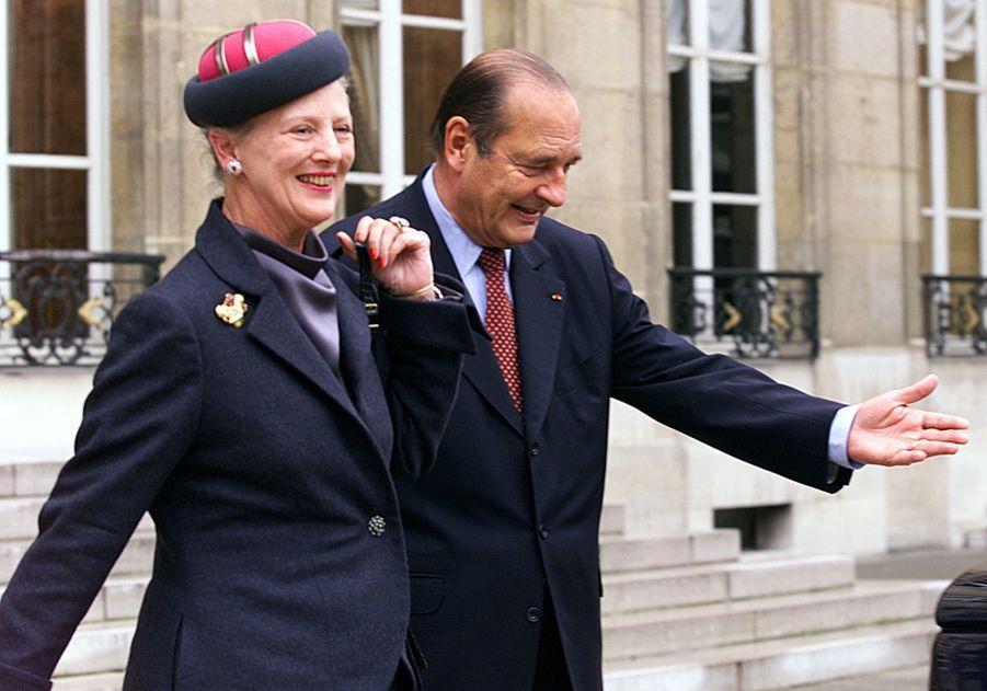 Jacques Chirac et et la reine Margrethe II du Danemark à l'Elysée en octobre 1999.