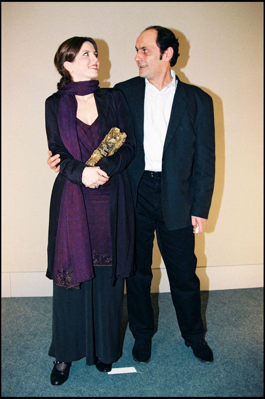 Jean-Pierre Bacri et Agnès Jaoui, César du meilleur scénario original ou adaptation, et du meilleur acteur dans un second rôle pour « Un air de famille », en février 1997.