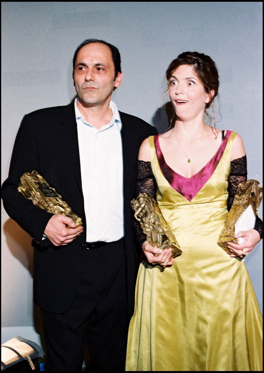 Jean-Pierre Bacri et Agnès Jaoui, César du meilleur scénario original ou adaptation, et du meilleur acteur dans un second rôle pour « On connaît la chanson », en février 1998.
