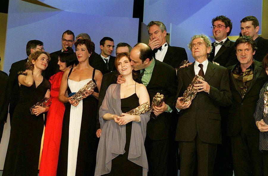 Jean-Pierre Bacri et Agnès Jaoui, César du meilleur scénario original ou adaptation pour « Le Goût des autres », en février 2001.