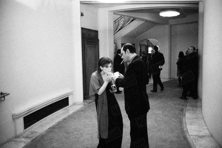 Jean-Pierre Bacri et Agnès Jaoui dans les coulisses de la cérémonie des César, en février 2001.