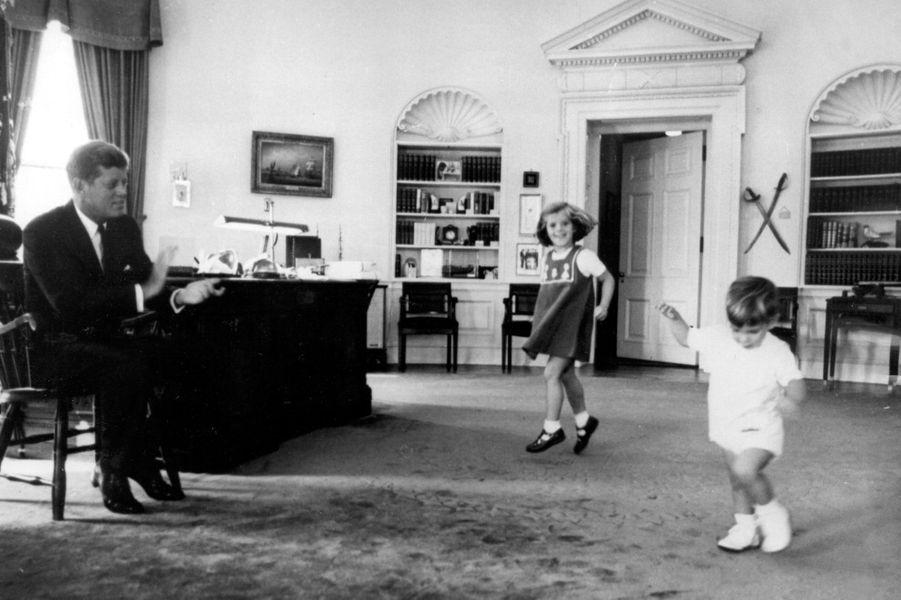 John avec son père à la Maison Blanche, 1963