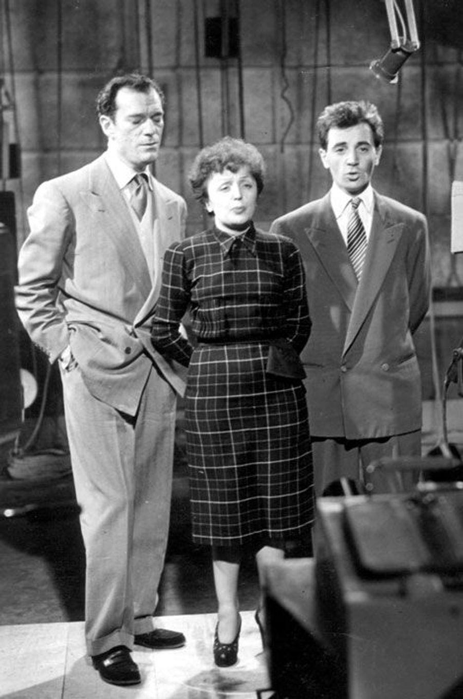 A New York en 1951,Eddie Constantine, Edith Piaf et Charles Aznavour.