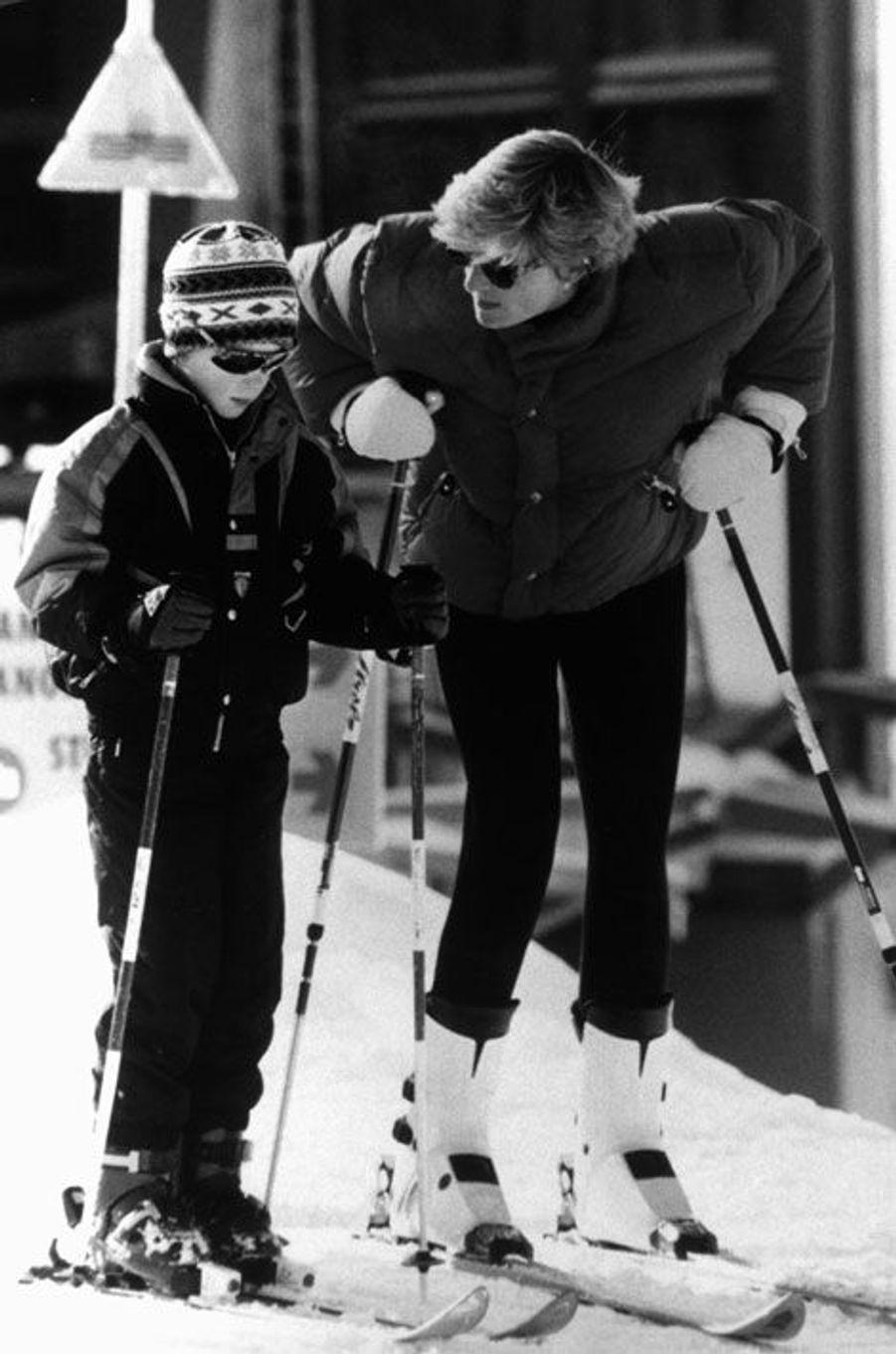 Au ski, avec Diana, en 1993