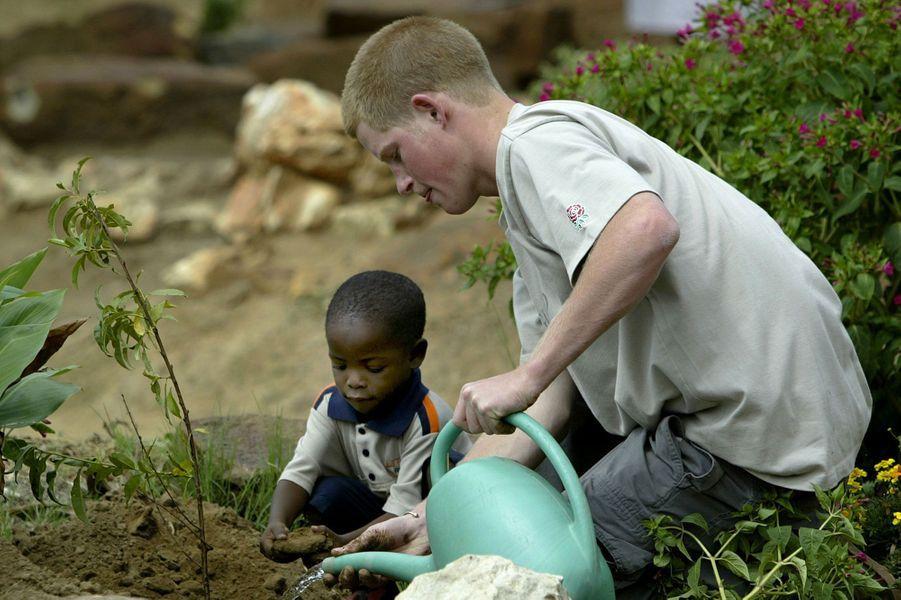 En visite humanitaire au Lesotho, en 2004