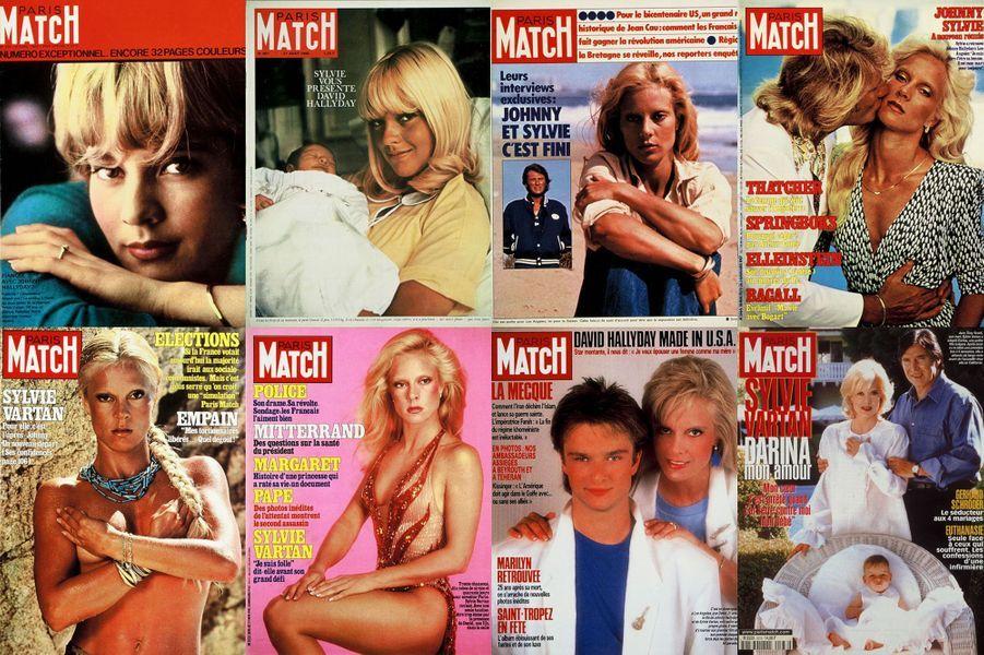Quelques unes des couvertures de Paris Match avec Sylvie Vartan