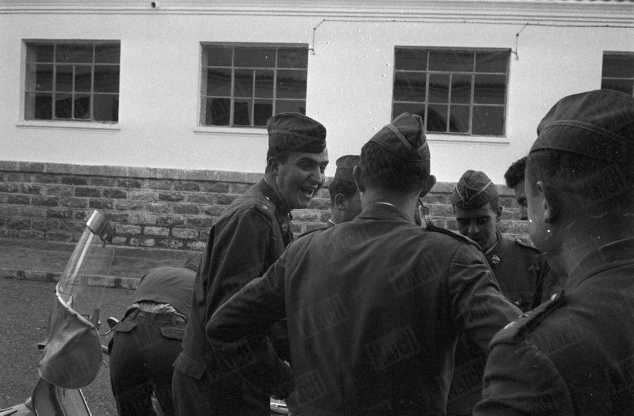Juan Carlos d'Espagne à l'école militaire d'aviation de San Javier, en 1959.