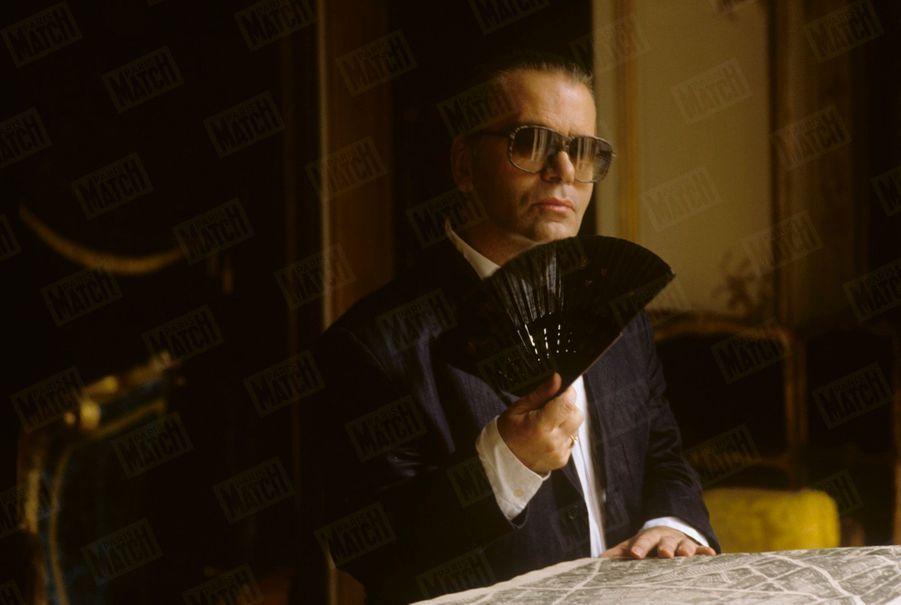 Karl Lagerfeld à Monaco, Juillet 1989.
