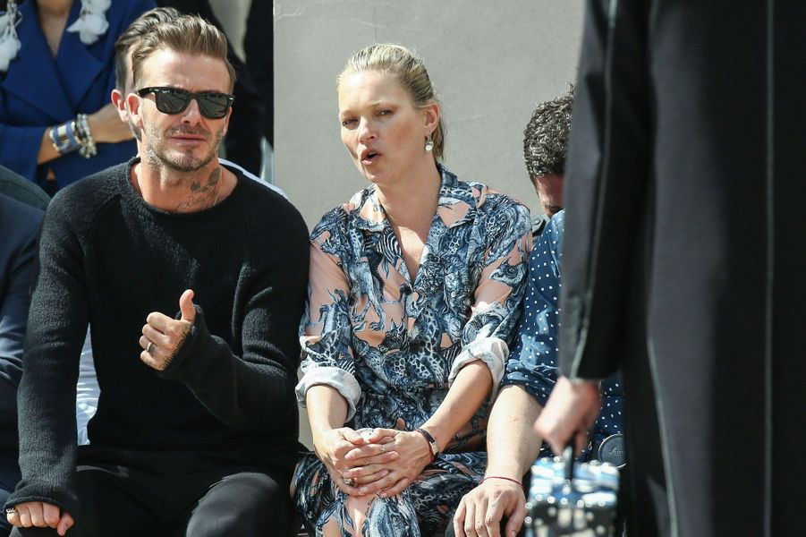 Kate Moss et David Beckham au défilé Louis Vuitton à Paris, Fashion Week Homme 2016