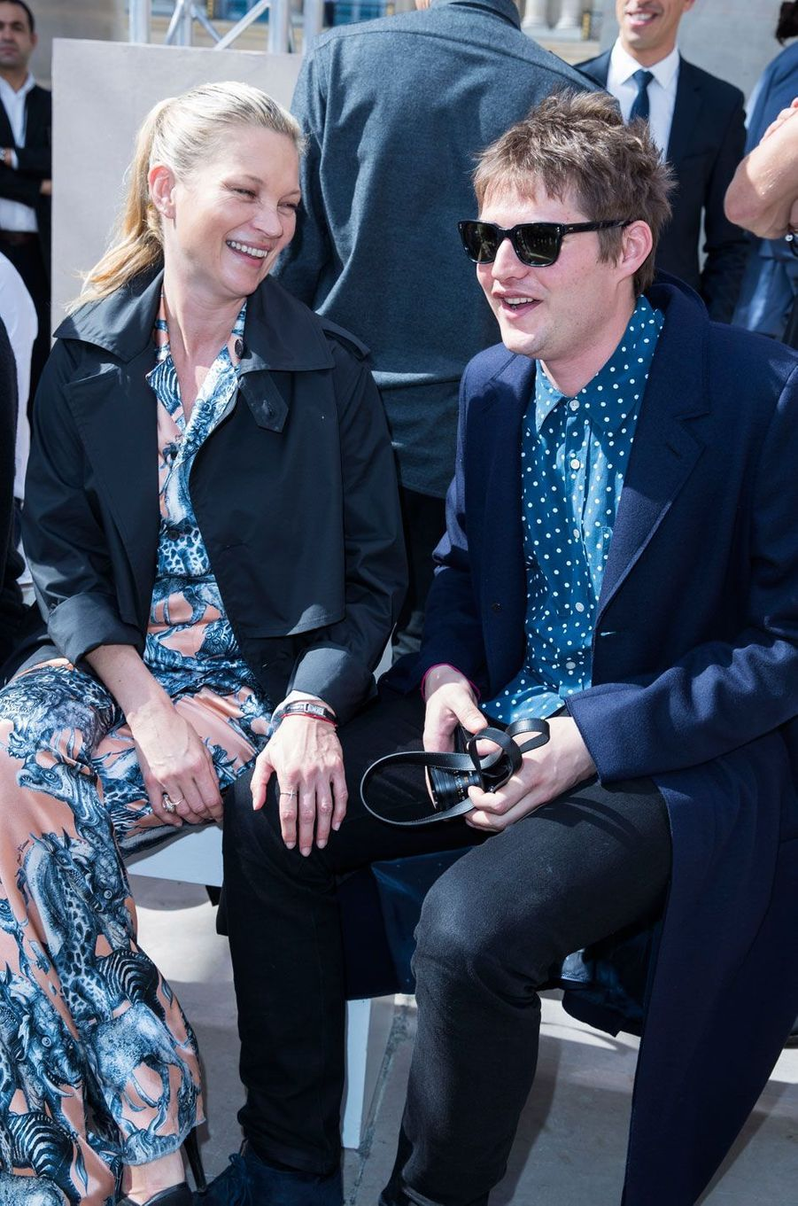 Kate Moss et Nikolaï Von Bismarck au défilé Louis Vuitton à Paris, Fashion Week Homme 2016