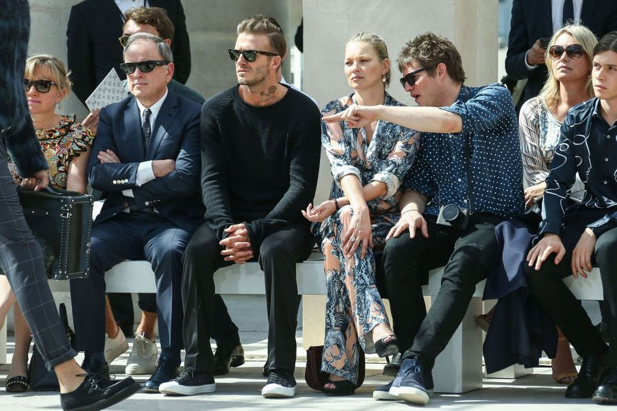 Kate Moss, Nikolaï Von Bismarck et David Beckham au défilé Louis Vuitton à Paris, Fashion Week Homme 2016