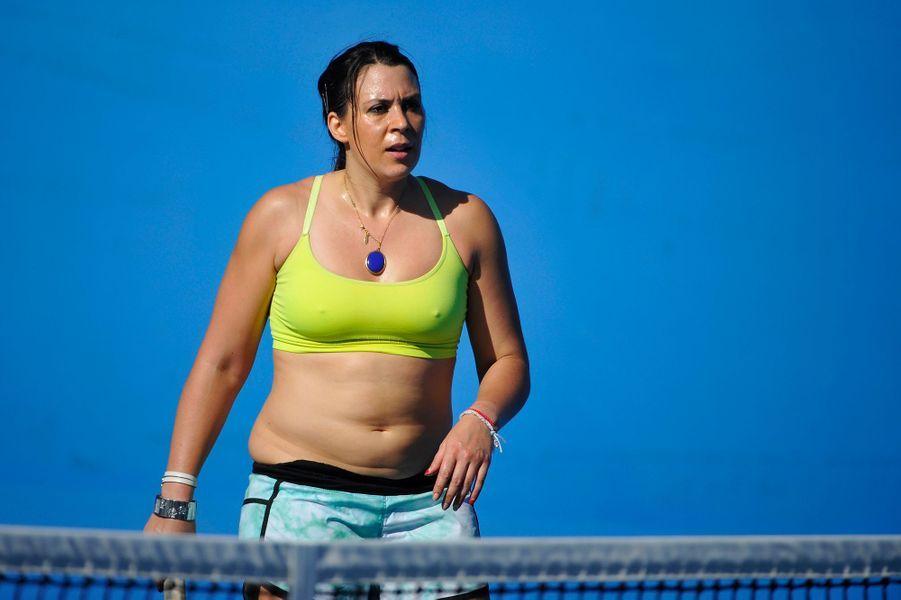 """Marion Bartoli à un match de """"légendes"""" du tennis à l'Open d'Australie en janvier 2015. Depuis 2013, l'ex-joueuse de tennis a perdu 13 kilos."""