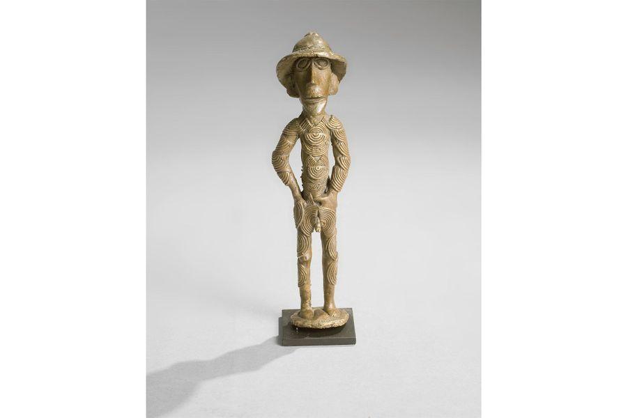 Akhan, Ghana ou Côte d'Ivoire, XXe siècle, laiton, haut. 20,5 cm