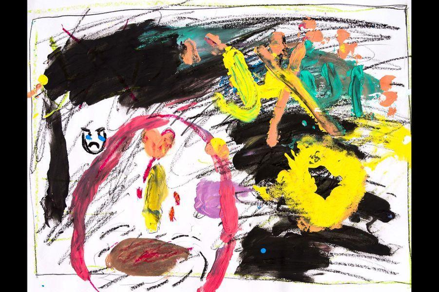 """Hatay - Un dessin de """"mauvaises choses"""" sur lesquelles sont dessinées de """"bonnes choses"""". Dessin réalisé par un élève de la Free Syria School."""