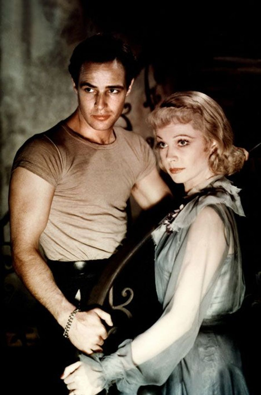 Marlon Brando et Vivien Leigh sur le tournage d' «Un tramway nommé désir» d'Elia Kazan.