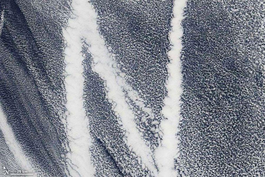 La fumée de bateaux dans l'océan Pacifique forme un N