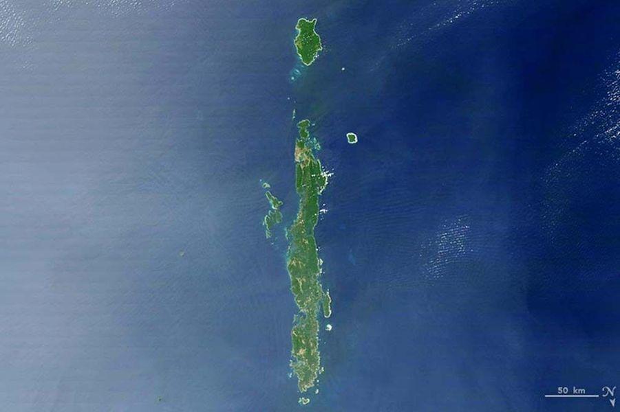 Les îles Andaman près de la Birmanie forment un i