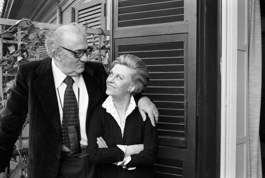 Federico Fellini et son épouse Giulietta Masina à Rome. 1980.