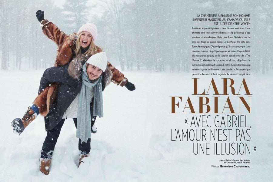Lara Fabian et son mari Gabriel posent chez eux, dans la région des Laurentides, près de Montréal, à l'occasion d'une grande interview pour Paris Match (n° 3643 daté, 7 mars 2019)