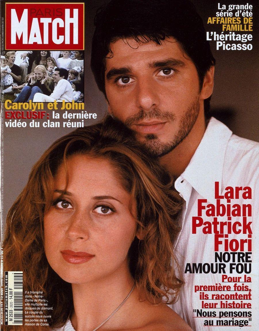 Lara Fabian en couverture de Paris Match n°2620 (daté du 12 août 1997), avec Patrick Fiori.