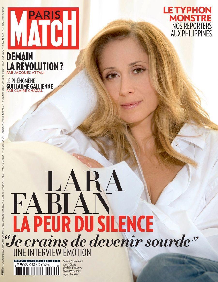 Lara Fabian en couverture de Paris Match n°3365, daté du 14 novembre 2013.