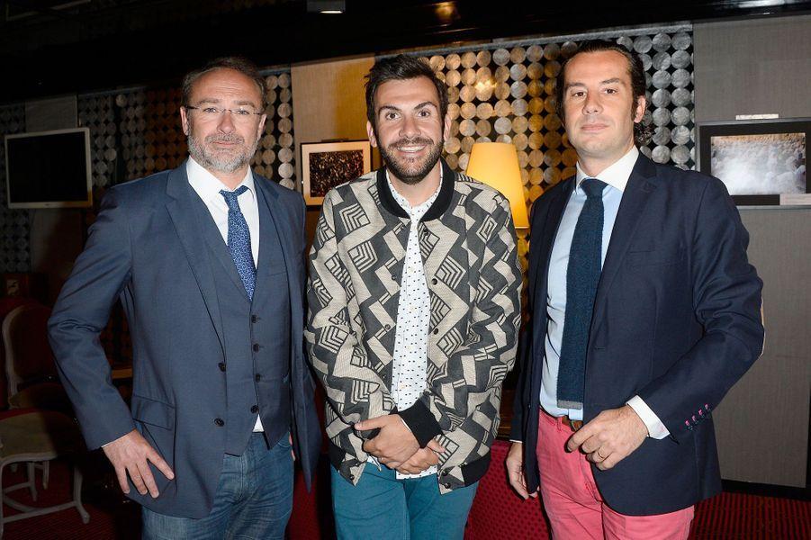 Guillaume Pourcher (chirurgien), Laurent Ournac et David Nocca (chirurgien) à la conférence de presse de la ligue contre l'obésité, mai 2016