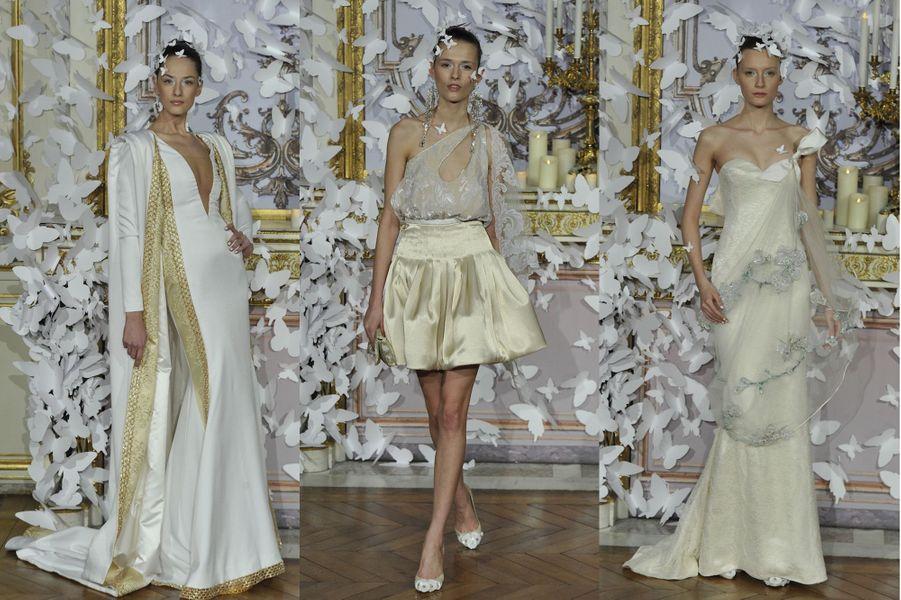 Une collection Haute Couture immaculée, et emplie de papillons, pour le créateur français.