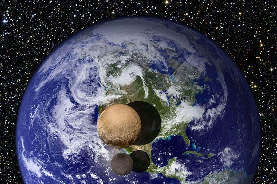 Pluton et Charon comparés à la Terre