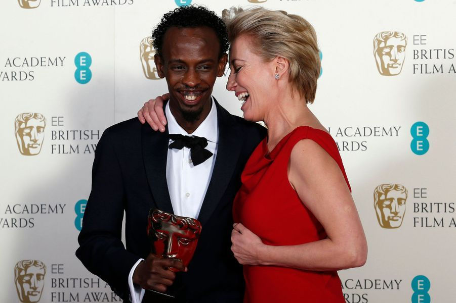 "Barkhad Abdi, meilleur second rôle masculin dans ""Capitaine Philips"", et Emma Thompson"