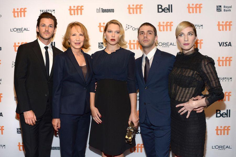 Gaspard Ulliel, Nathalie Baye, Léa Seydoux, Xavier Dolan et Nancy Grant (productrice) au Festival du Film de Toronto