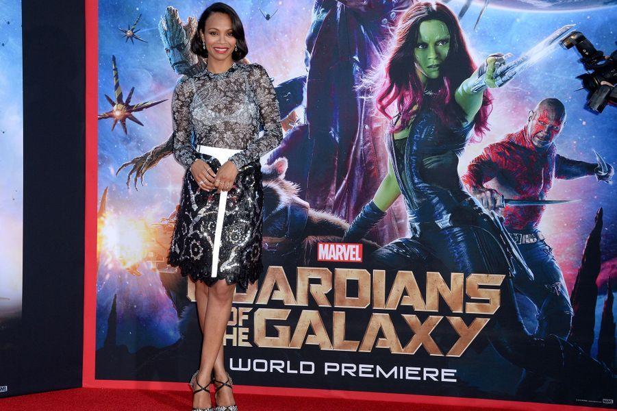 Zoe Saldana en Louis Vuitton, à l'avant-première du dernier film du réalisateur James Gunn, « Les gardiens de la galaxie » le 22 juillet 2014.
