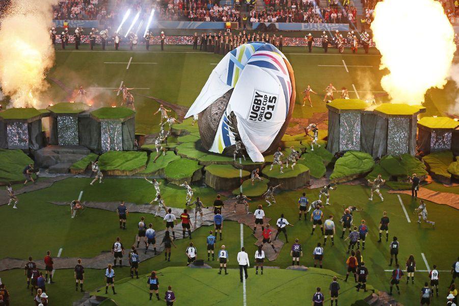 Vue d'ensemble de la cérémonie d'ouverture de la Coupe du monde de rugby au stade deTwickenham (Royaume-Uni)