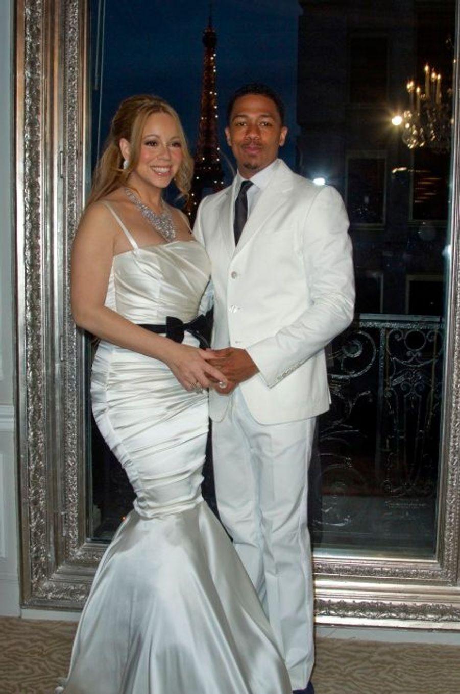 Mariah Carey et Nick Cannon, (remariés) le 27 avril 2012 à Paris