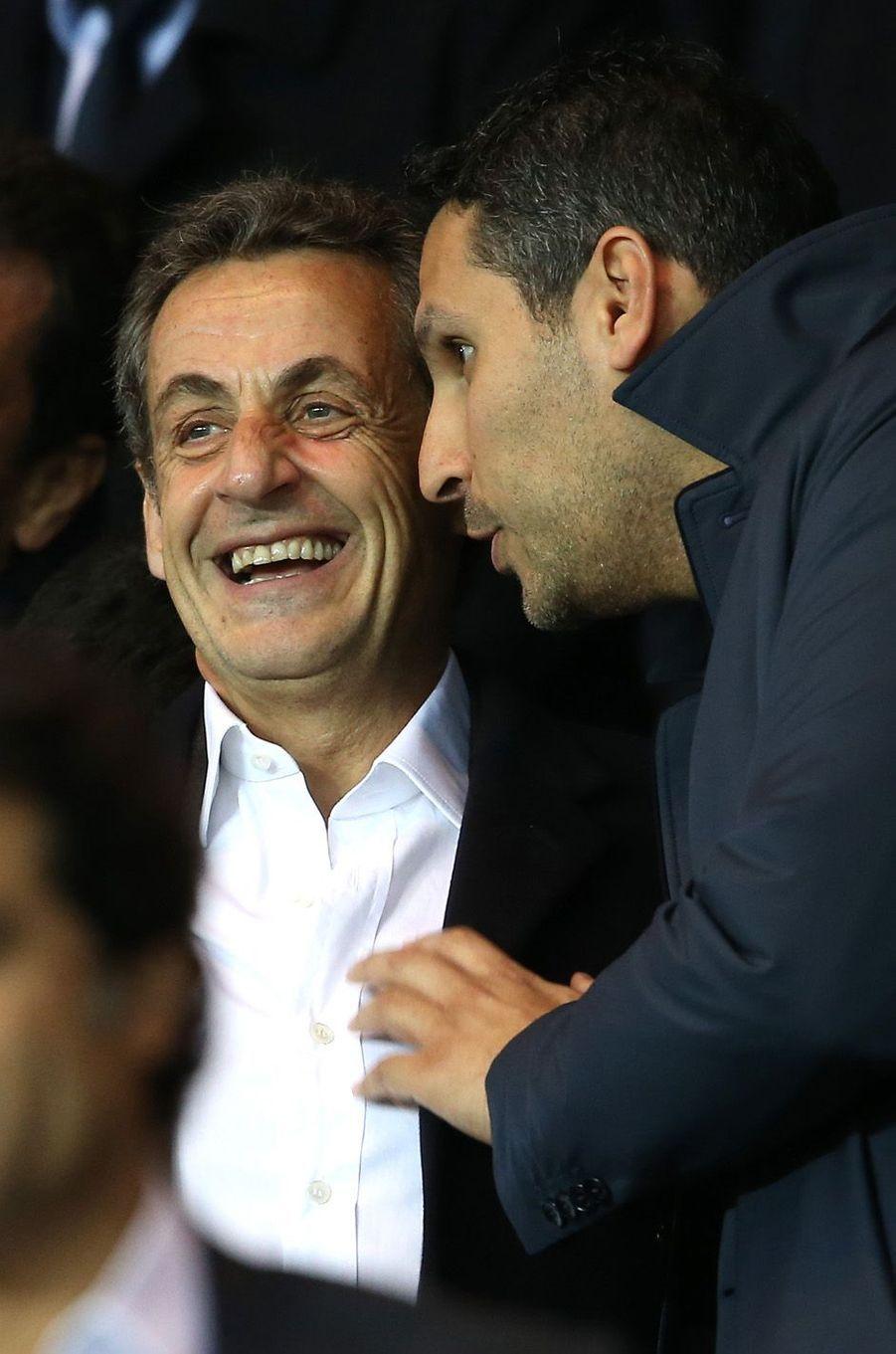 Nicolas Sarkozy avec le président du club de football Manchester City, Khaldoon Al Mubarak