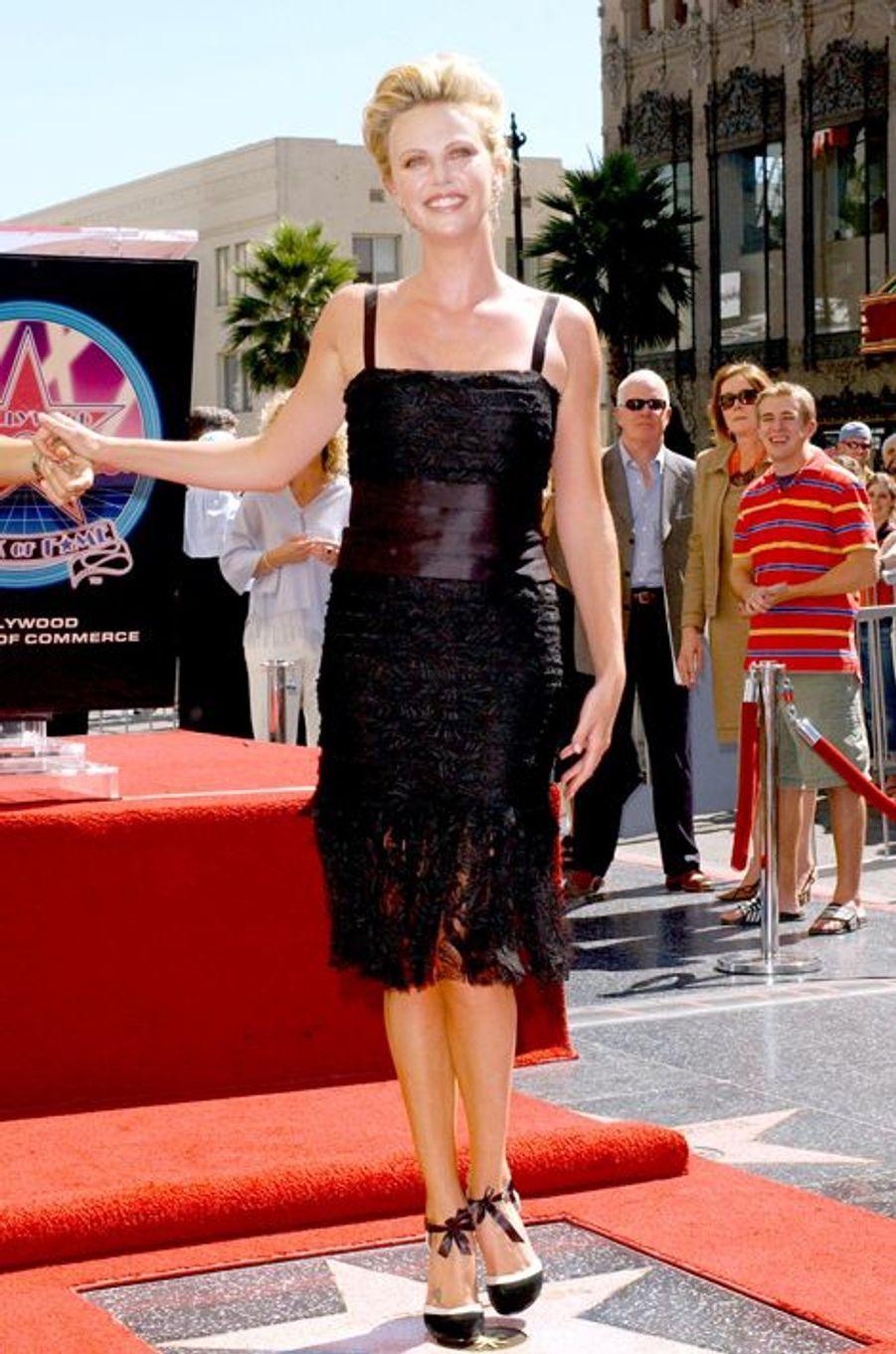 Pour recevoir son étoile sur le Hollywood Boulevard, en septembre 2005