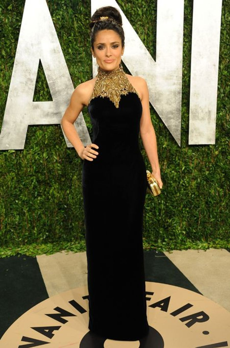 Salma Hayek en Alexander McQueen, aux Oscars en février 2013