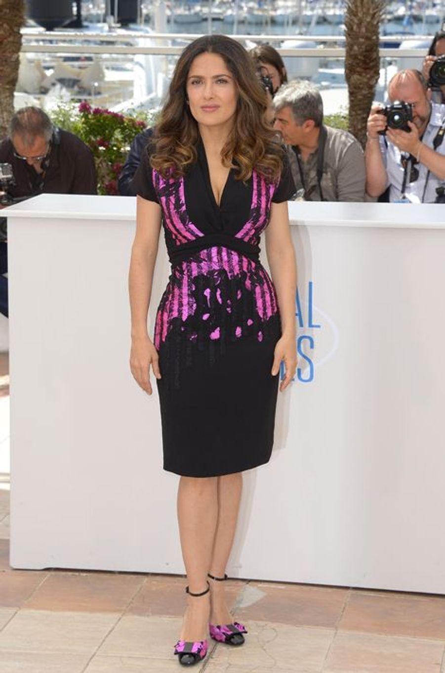 Salma Hayek en Bottega Veneta au Festival de Cannes, en mai 2014