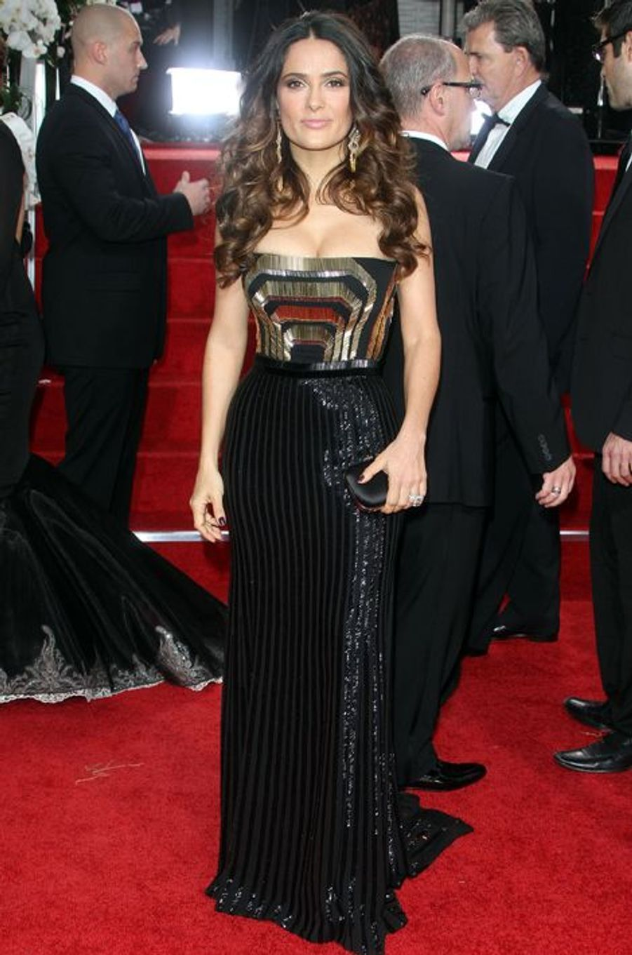 Salma Hayek en Gucci aux Golden Globes, en janvier 2012