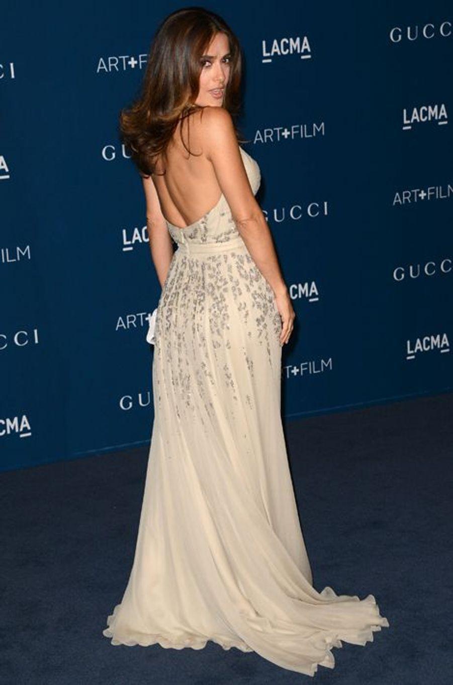 Salma Hayek en Gucci Première, au LACMA Art + Film Gala en novembre 2013