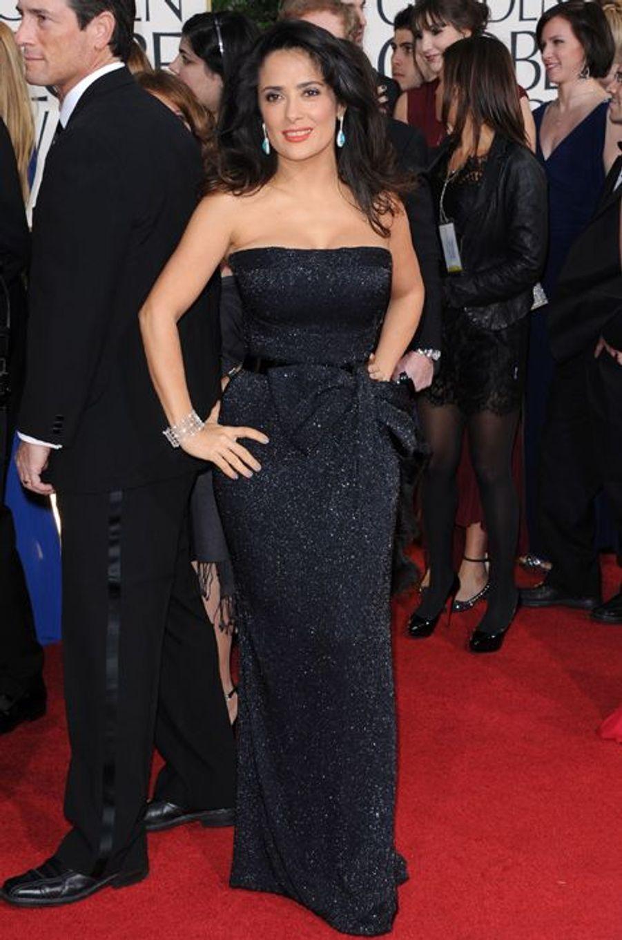Salma Hayek en Gucci Première aux Golden Globes, en janvier 2013