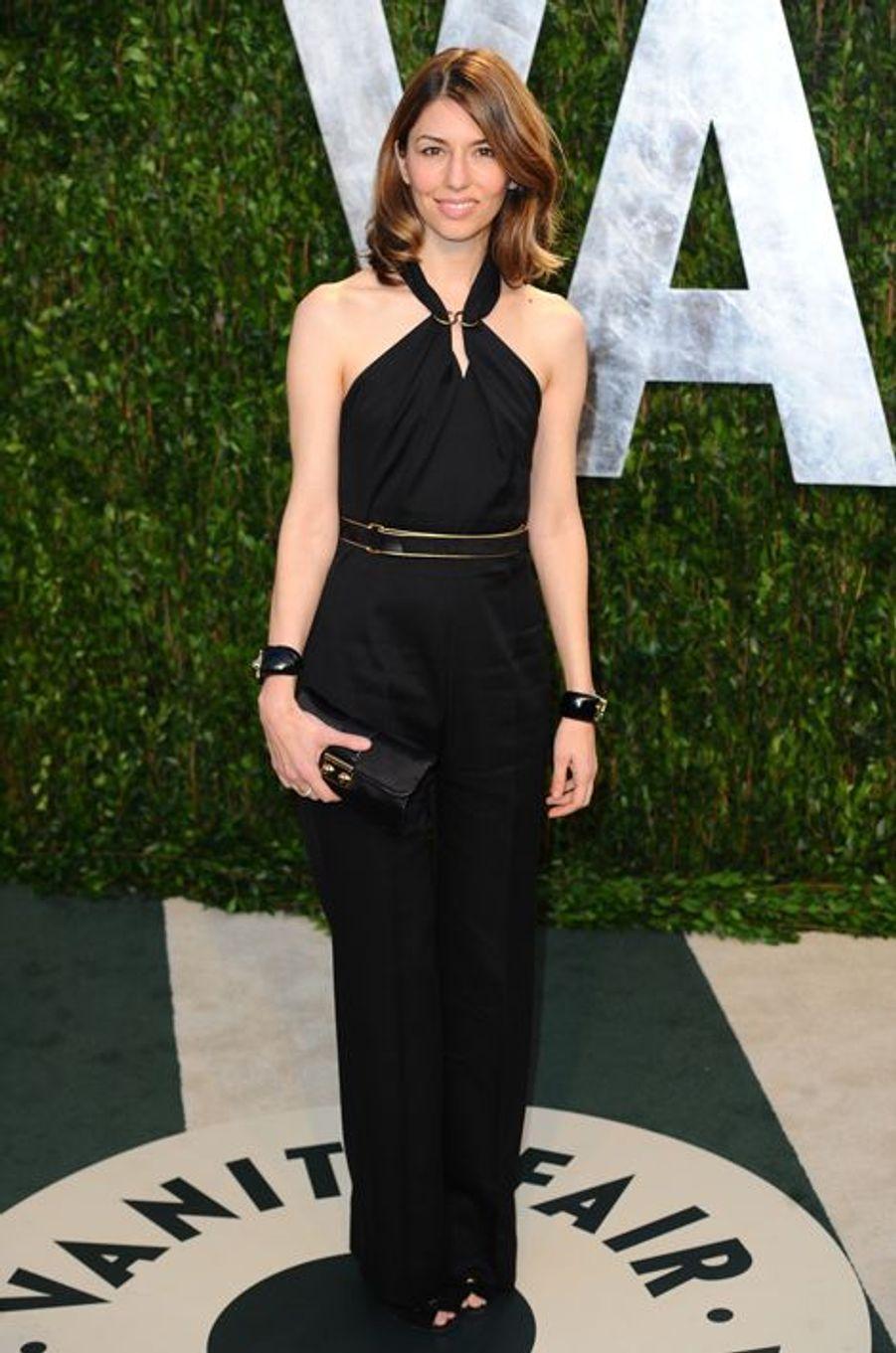 En Yves Saint Laurent à une soirée post-Oscars, en février 2012