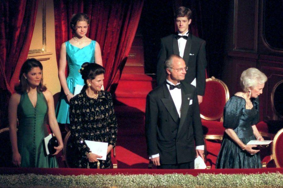 Les 50 ans du roi Carl Gustaf, à l'Opéra royal de Suède, en 1996