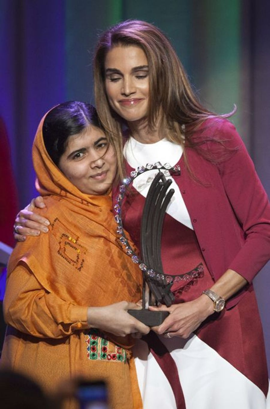 Malala et la reine Rania de Jordanie à la Clinton Global Initiative, le 25 septembre 2013