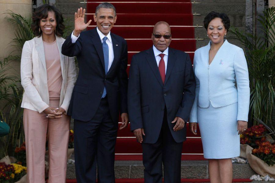 Michelle et Barack Obama, Jacob Zuma etThobeka Madiba-Zuma.