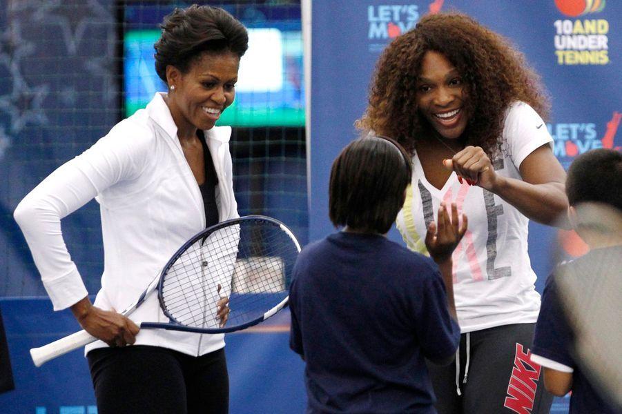 Septembre 2011 : à l'US Open avec Serena Williams pour son programme Let's Move