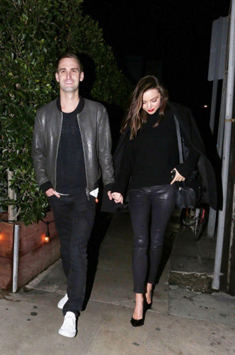 Miranda Kerr et Evan Spiegel en janvier 2016
