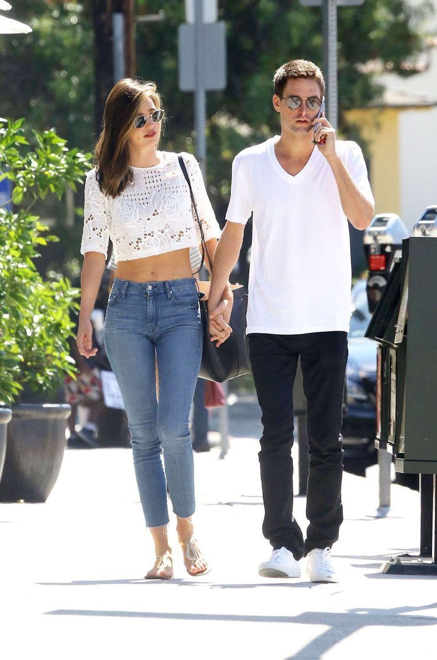 Miranda Kerr et Evan Spiegel en septembre 2015