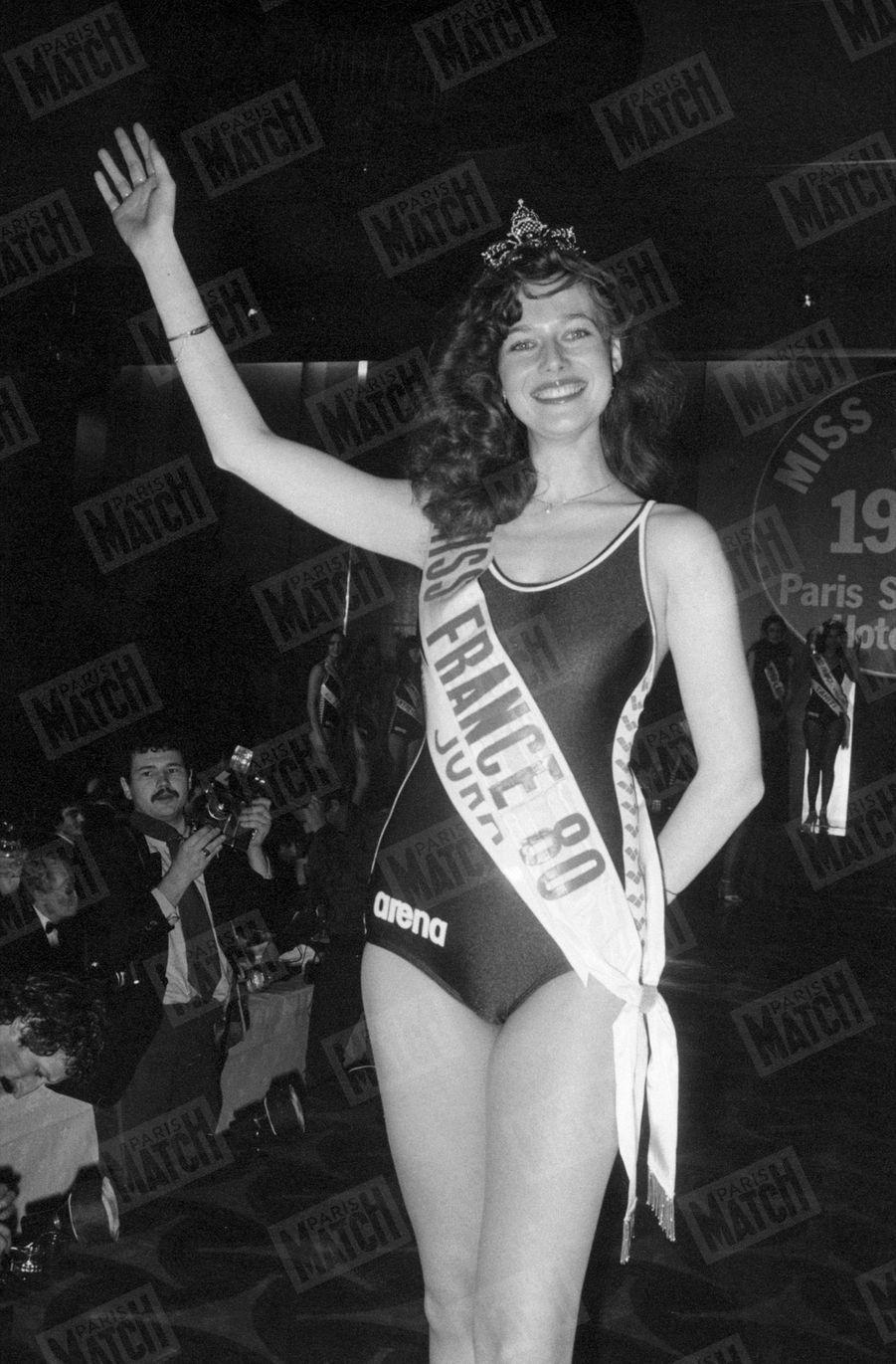 Patricia Barzyk, couronnée Miss France 1980, le 28 décembre 1979 à Paris.