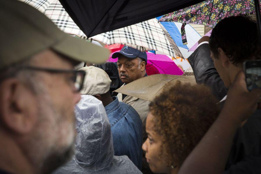 Le pasteur Jesse Jackson, activiste des droits civiques, est venu à Ferguson