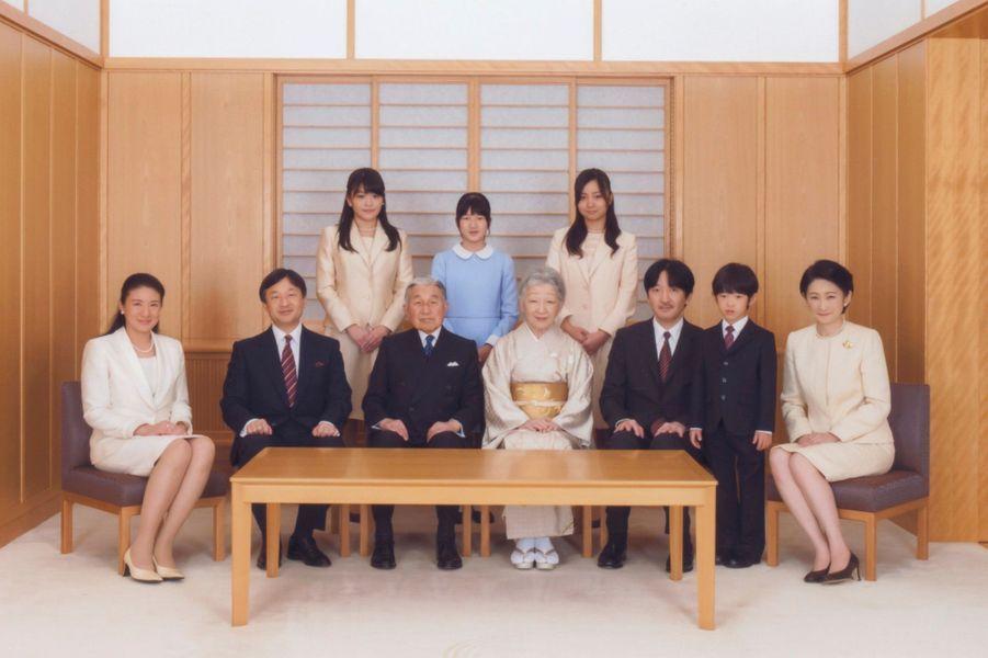 Au premier rang, de gauche à droite : la princesse Masako, le prince héritier Naruhito, l'empereur Akihito, l'impératrice Michiko, le prince Akishino,le princeHisahito, la princesse Kiko. Deuxième rang de gauche à droite : les princesses Mako, Aiko et Kako.